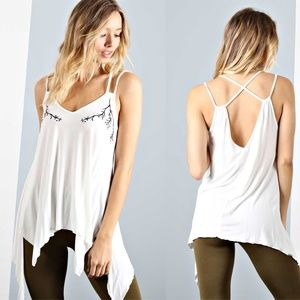 Asymmetrical Hem Embroidered Vine Tank Top NEW